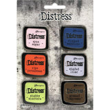 Tim Holtz Distress Enamel Collector Pins - Set no.6 (Spun Sugar, Ripe Persimmon, Shabby Shutters, Chipped Sapphire, Shaded Lilac, Ground Espresso)