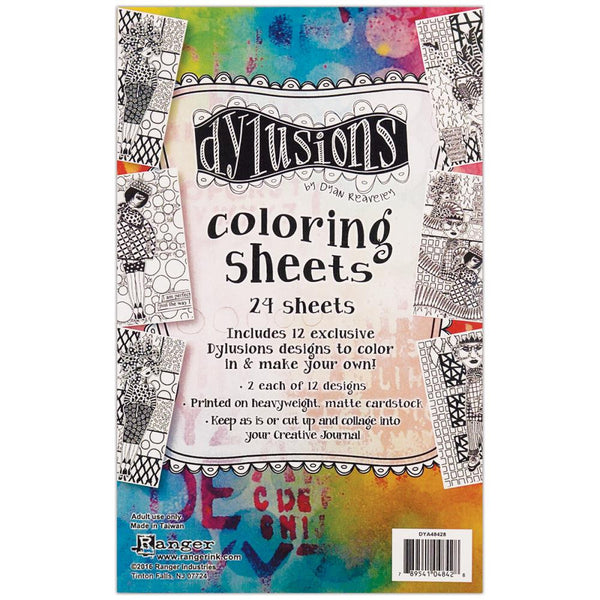Dylusions Coloring Sheets - 12 Designs - 24 Sheets