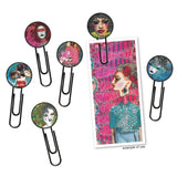 example of Face Clips - Creative Dyary Clips by Dylusions... Enamel Pendants on black paperclips