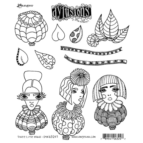 Dylusions Cling Rubber Stamps - Three Little Maids