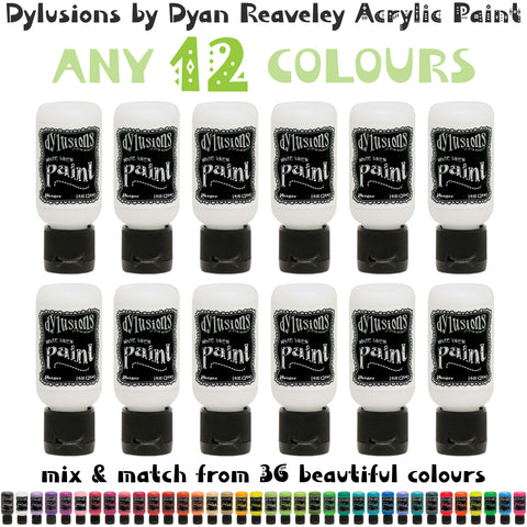 Dylusions Acrylic Paint - 1oz Bottle Flip Cap - Any 12 Colours