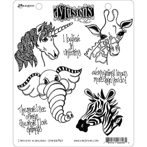 I Believe in Unicorns - 7 Cling Rubber Stamps ... by Dyan Reaveley of Dylusions