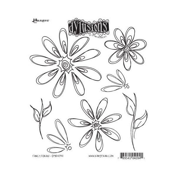Dylusions by Dyan Reaveley Cling Stamps - Fancy Florals. Petals and other pretty elements to add to your journals and other artwork.