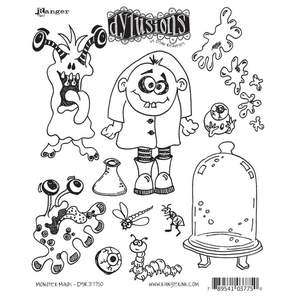 Dylusions Cling Rubber Stamps - Monster Mash