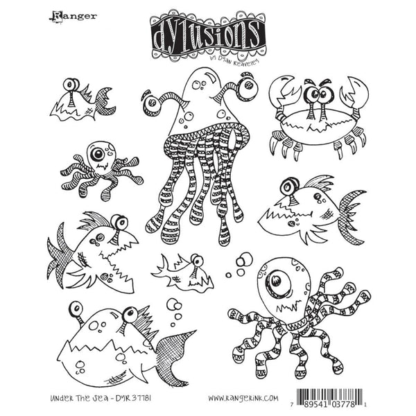 Dylusions Cling Rubber Stamps - Under the Sea Fish and Creatures