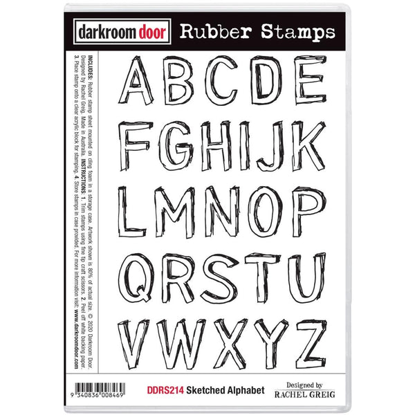 Sketched Alphabet Darkroom Door Rubber Stamp Set