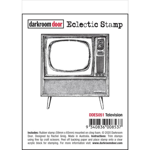 Television Darkroom Door Rubber Stamp