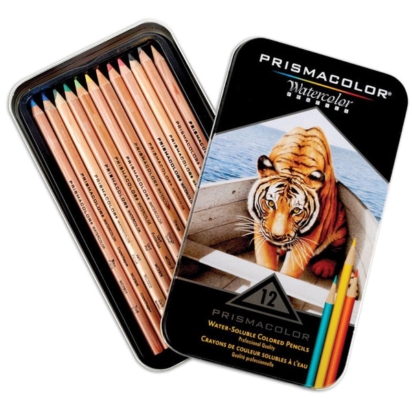 Prismacolor watercolour or aquarelle pencils, 12 pencil set