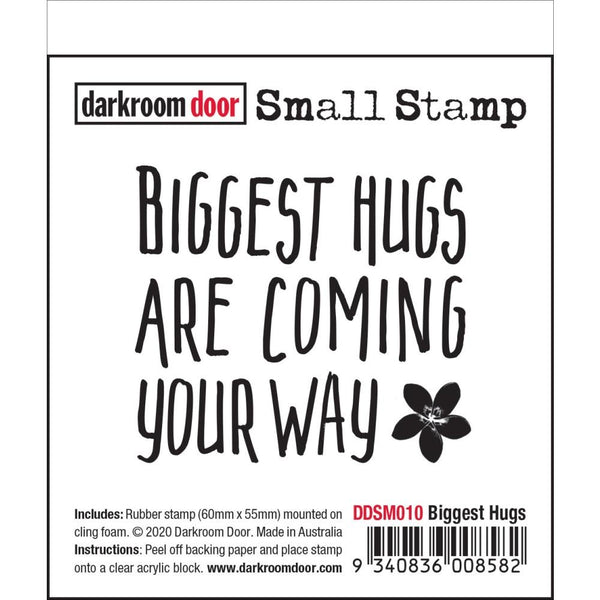Quote stamp 'biggest hugs are coming your way' by Darkroom Door