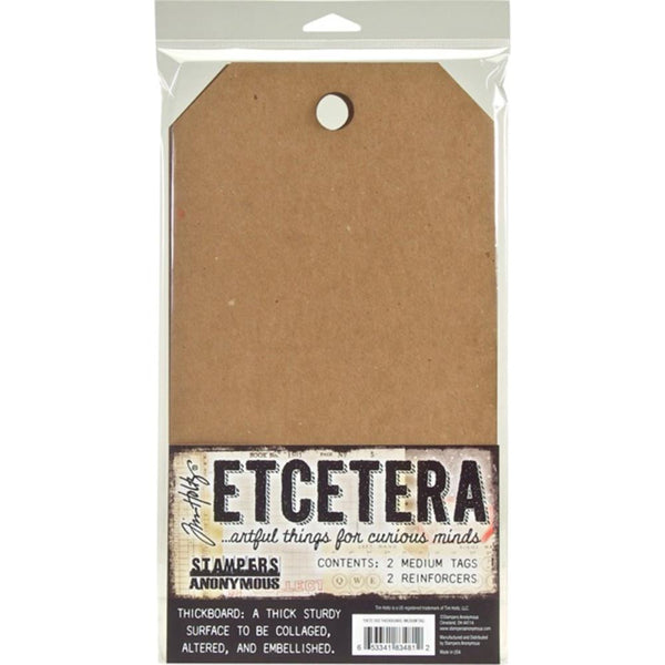 Tim Holtz Etcetera Medium Tags - Pack of 2 - Mixed Media Surface - NEW!