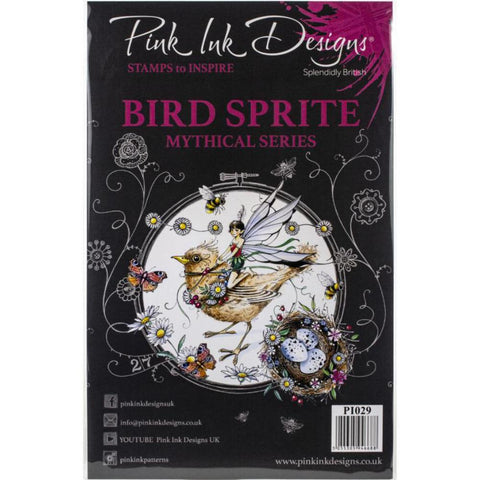 Cover of the Bird Sprite Pink Ink Designs Stamp Set for sale at Art by Jenny in Australia