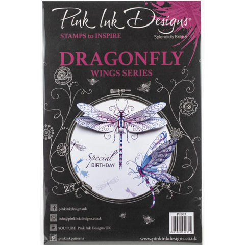 Dragonfly - by Pink Ink Designs ... Set of 18 (eighteen) clear cling stamps (wings Series) cover image
