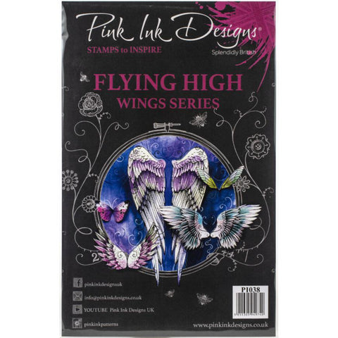 Flying High Wings - by Pink Ink Designs ... Set of 10 (ten) clear cling stamps
