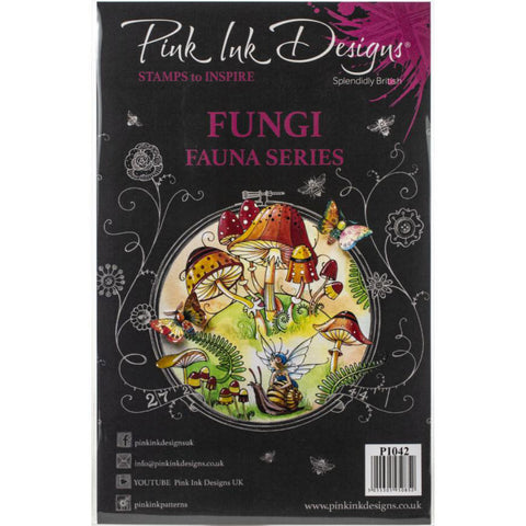cover of the Fungi (with frog, fairy and snail) Pink Ink Designs Stamp Set for sale at Art by Jenny in Australia