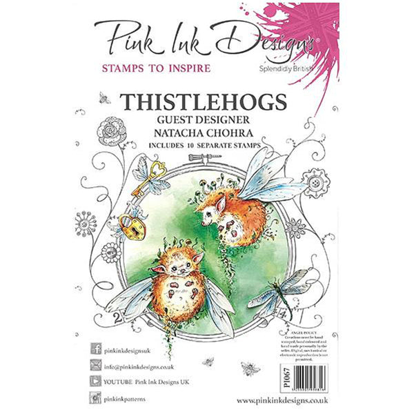 Thistlehogs - by Pink Ink Designs with guest designer, Natacha Chohra ... Set of 10 (ten) clear cling stamps