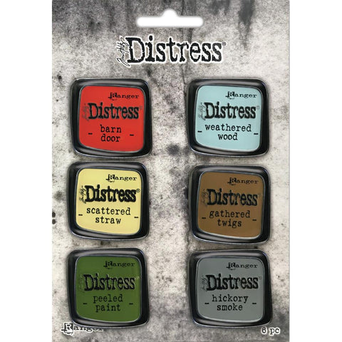 Ranger's Tim Holtz Distress Enamel Pins - Set no.7 ... Barn Door, Weathered Wood, Scattered Straw, Gathered Twigs, Peeled Paint, Hickory Smoke.