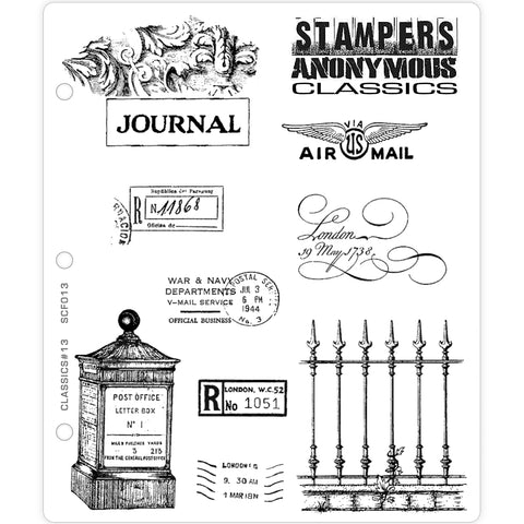 Stampers Anonymous Classics - Rubber Stamps - Set 13 Postal Marks and Wrought Iron Fence