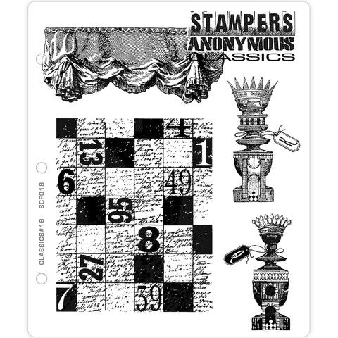 Gameboard, Curtain and Chess Pieces (Classics set no.18) - Rubber Stamp Set by Stampers Anonymous