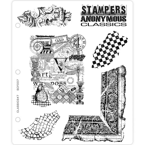 Stampers Anonymous Classics - Rubber Stamps - Set 7 - Vintage Fragments