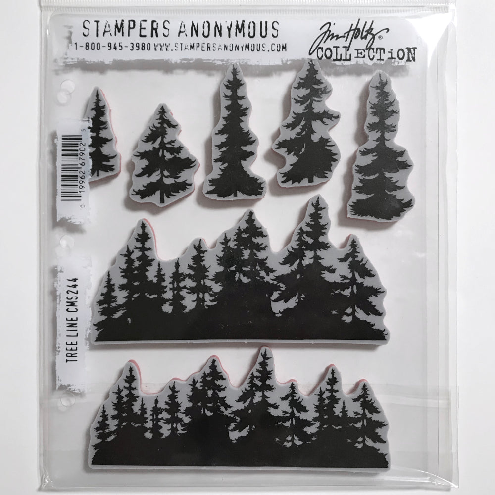 Stampers Anonymous Tim Holtz Cling Rubber Stamp Set, 7 by