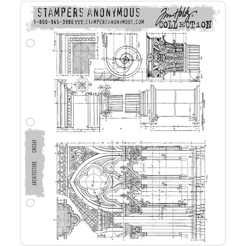Architecture ... set of 2 cling rubber stamps by Tim Holtz