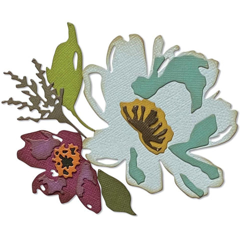 Tim Holtz Thinlits Die Cutting Set by Sizzix - Brushstroke Flowers 3 - NEW!