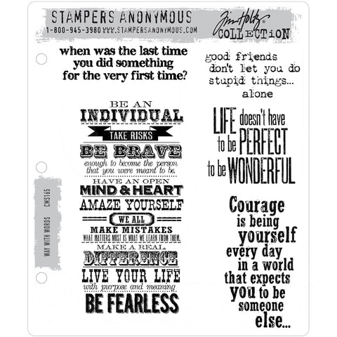 Way With Words ... set of 5 (five) rubber stamps by Tim Holtz (cms165)