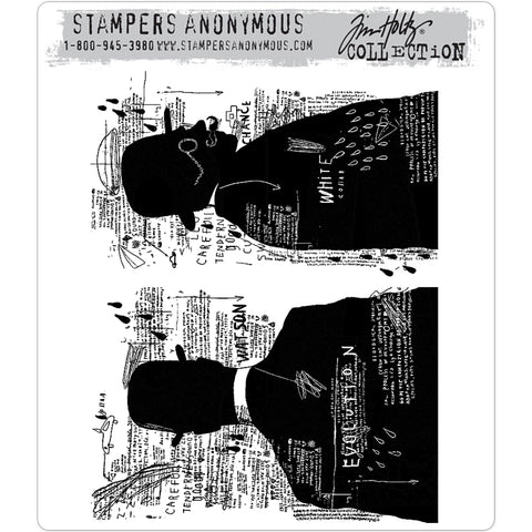 Evolution ... set of 2 large cling rubber stamps by Tim Holtz