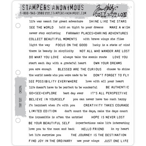Tiny Text ... over 40 phrases - rubber stamps by Tim Holtz (CMS395)