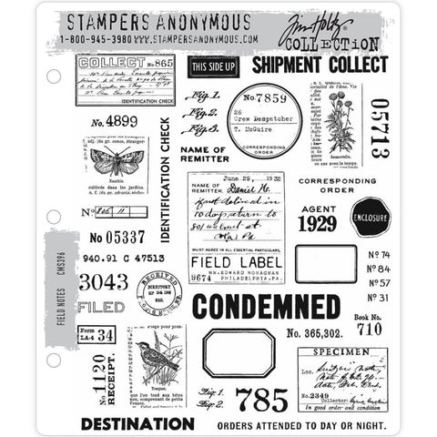 Field Notes ... 35 versatile rubber stamps by Tim Holtz (CMS396)