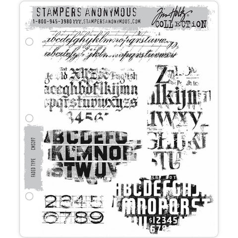 Faded Type - Tim Holtz Cling Stamps - made by Stampers Anonymous and Art Gone Wild
