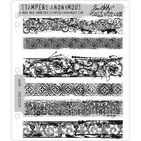 Eclectic Edges - Tim Holtz Cling Stamps - made by Stampers Anonymous and Art Gone Wild