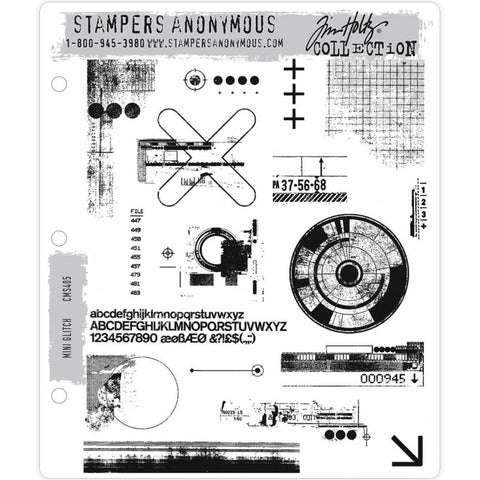 Mini Glitch - Tim Holtz Cling Stamps - made by Stampers Anonymous and Art Gone Wild
