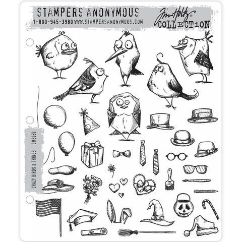 Mini Bird Crazy and Things ... 39 rubber stamps by Tim Holtz (CMS250)
