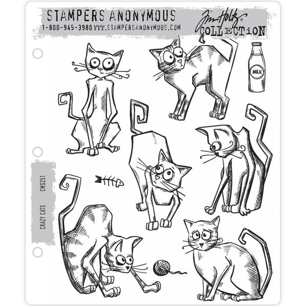 Crazy Cats ... 9 (nine) rubber stamps by Tim Holtz (CMS251).