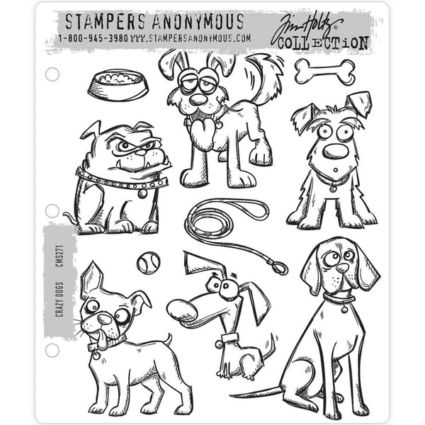 Crazy Dogs ... 10 rubber stamps by Tim Holtz (cms271)