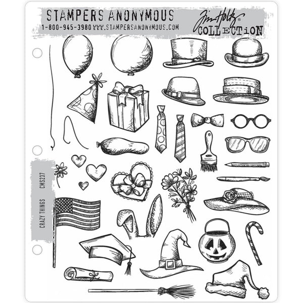 Crazy Things ... 33 (thirty three) rubber stamps by Tim Holtz (CMS237)