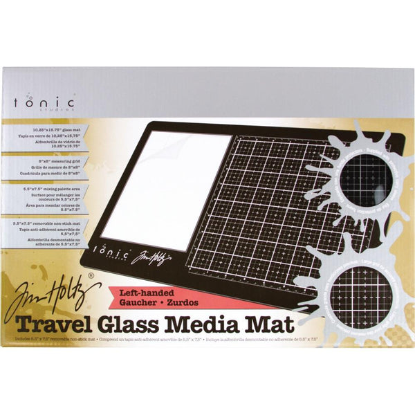 Tim Holtz Glass Media Mat Travel Size for Left Handed People plus Protective Pouch