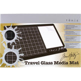 the Tim Holtz Travel Sized Glass Media Mat by Tonic Studio
