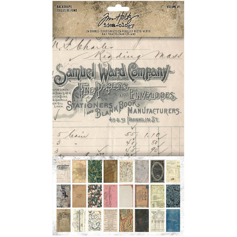 pack of Tim Holtz Idea-Ology Paper Backdrops Volume 1 - Double sided Surfaces Cardstock