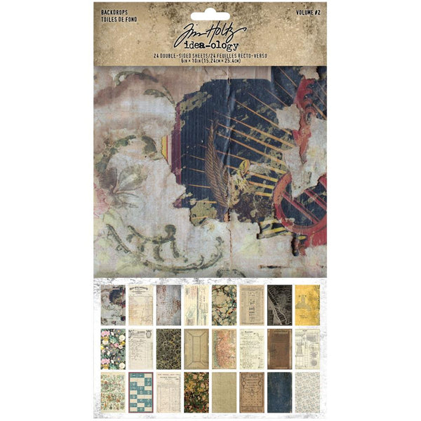 pack of Tim Holtz Idea-Ology Surfaces - Backdrops Vol 2