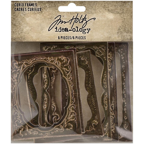 Curio Frames - by Tim Holtz Idea-Ology ... 6 diecut and embossed rectangular frames made from thick bookboard finished with a copper-bronze metallic finish