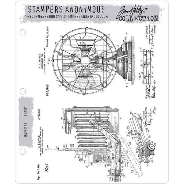 Inventor 8 Cling Art Stamps by Tim Holtz and Stampers Anonymous cms375