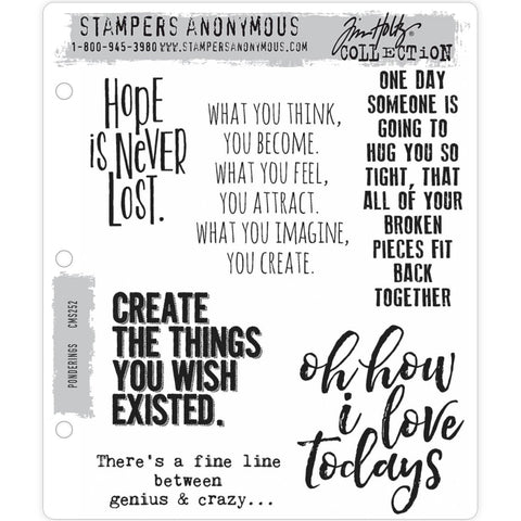 Ponderings ... 6 (six) Cling Rubber Stamps by Tim Holtz (CMS252)