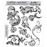 Scrollwork ... set of 8 cling rubber stamps by Tim Holtz