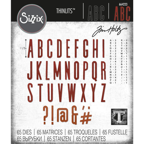 cover of Tim Holtz Thinlits Die Cutting Set by Sizzix - Alpha Classic Upper Capital Letters