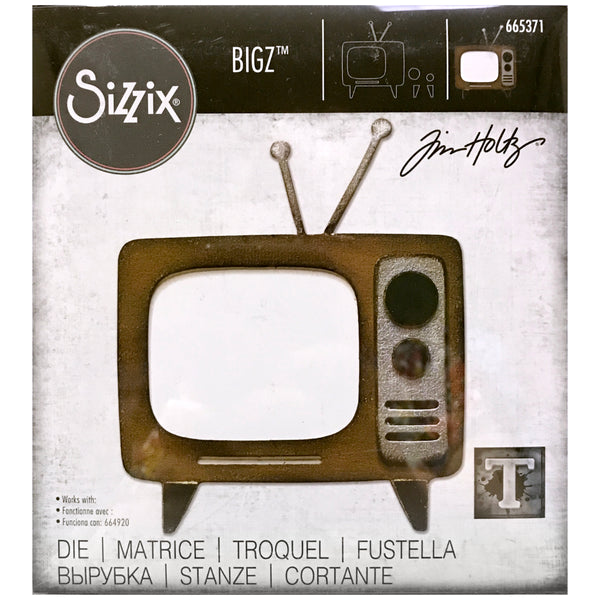 Retro TV Television Sizzix Bigz Steel Die Cutting Template by Tim Holtz (665371)