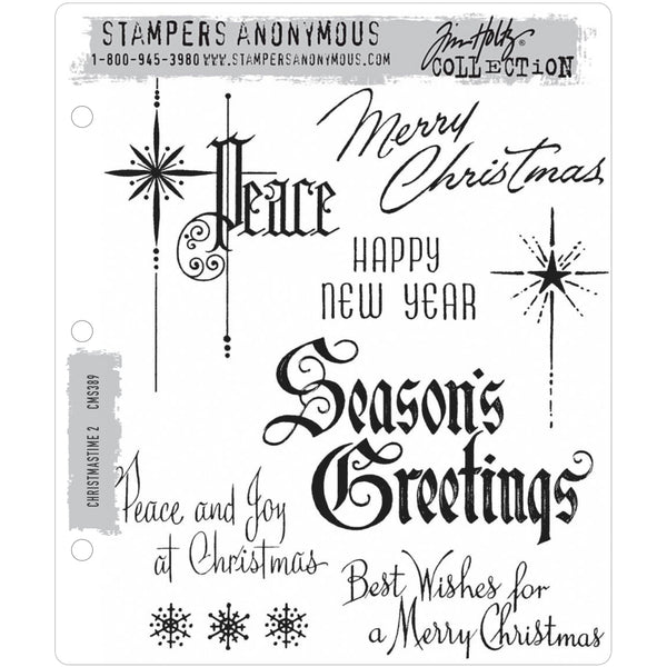 Christmastime 2 ... 8 greetings, rubber stamps by Tim Holtz (CMS389)