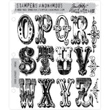 Tim Holtz Cling Stamps - Cirque Alphabet opqrstuvwxyz and 3 scrolls