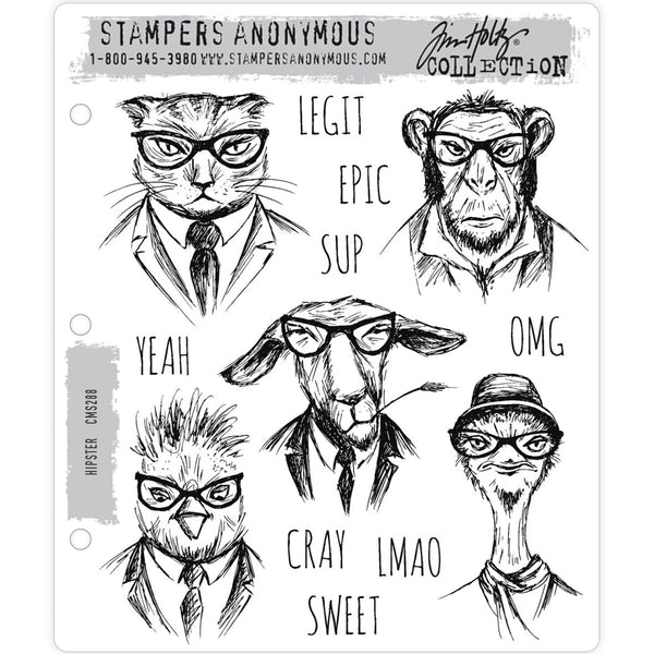 Hipster ... Tim Holtz Cling Stamps - 5 animal portraits